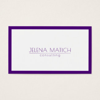 Minimalistic Deep Purple & White Border Business Card