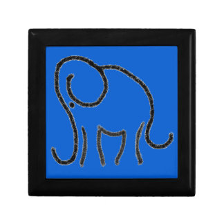 Minimalistic Elephant Chalk Drawing on Blue Small Square Gift Box