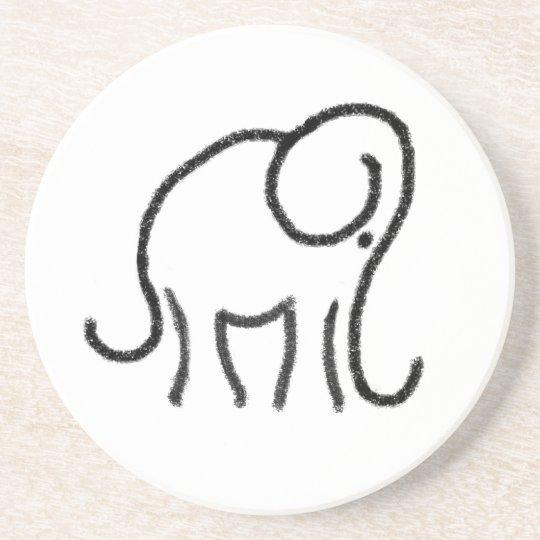 Minimalistic Elephant Emblem Stone Drink Coaster