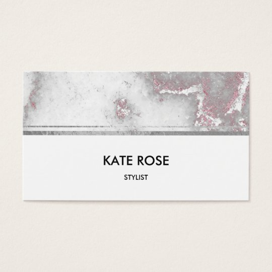 Minimalistic Glam Silver Gray Marble Pink White Business