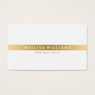 Minimalistic Gold Tine Stripe On White Business Card