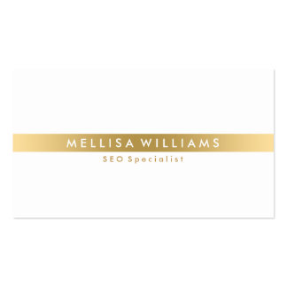 Minimalistic Gold Tine Stripe On White Pack Of Standard Business Cards