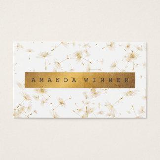 Minimalistic Grungy Gold Dandelion Confetti Vip Business Card