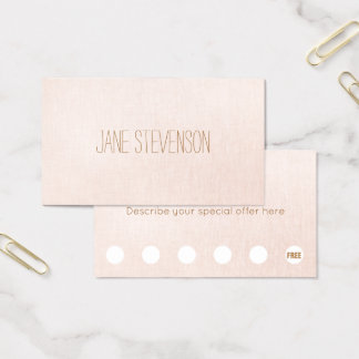 Minimalistic Light Pink Linen 6 Punch Loyalty Business Card