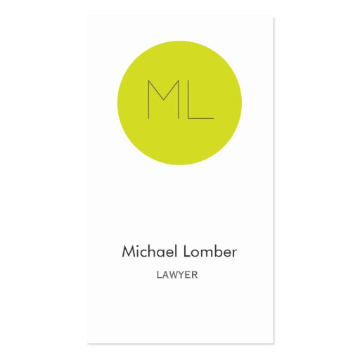 Minimalistic modern Business Card lime circle
