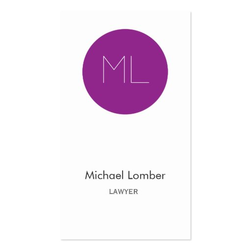Minimalistic modern Business Card purple circle