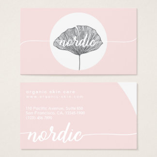 Minimalistic pink organic botanical gingko business card