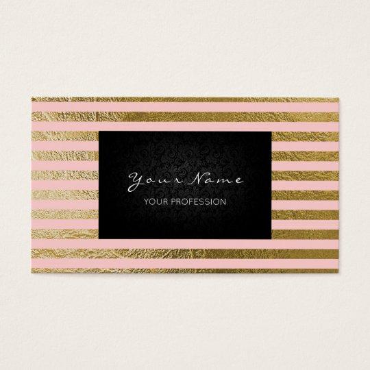 Minimalistic Pink Rose Gold Stripes Lines Black Business