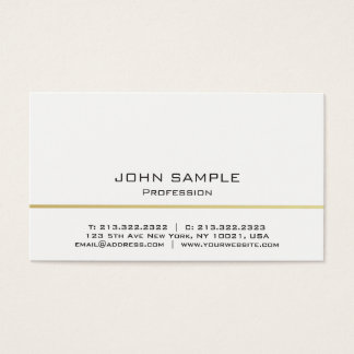 Minimalistic Professional Modern White and Gold Business Card