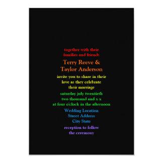 Minimalistic Rainbow Colored Font Black Wedding 13 Cm X 18 Cm Invitation Card