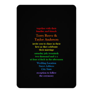 Minimalistic Rainbow-Colored Font Wedding 13 Cm X 18 Cm Invitation Card