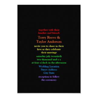 Minimalistic Rainbow-Colored Font Wedding Card