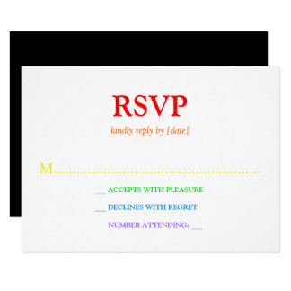 Minimalistic Rainbow-Colored Font Wedding RSVP Card