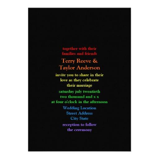 Minimalistic Rainbow Font Black Background Wedding Personalized Announcements