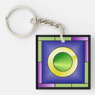 Minimalistic World Art Deco Key Ring