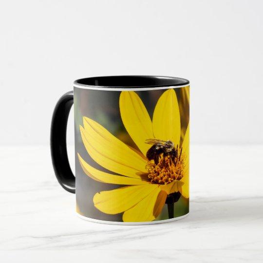 Mining Bee on Yellow Wildflower Coffee Mug