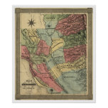 Mining in California Map - 1851 Posters