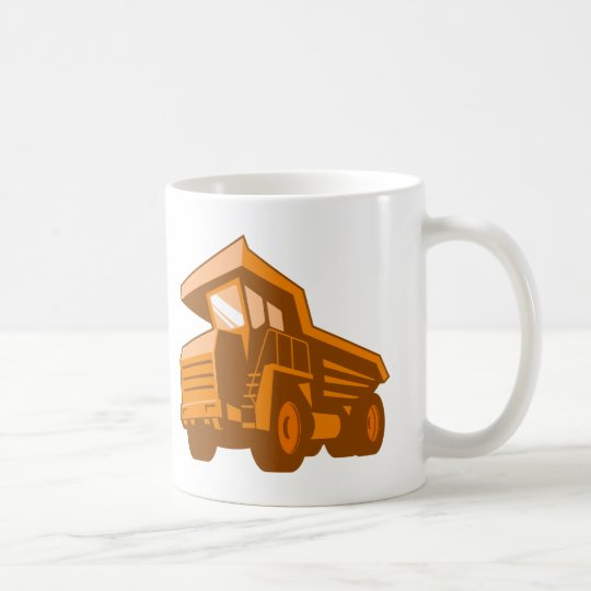 mining truck low angle retro style coffee mug