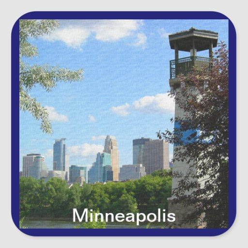 Minneapolis and Boom Island Lighthouse Square Sticker
