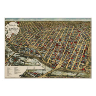 Minneapolis birdseye map  - 1891 (Smith) BigMapBlo Poster