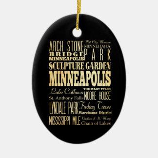 Minneapolis City of Minnesota State Typography Art Christmas Ornament