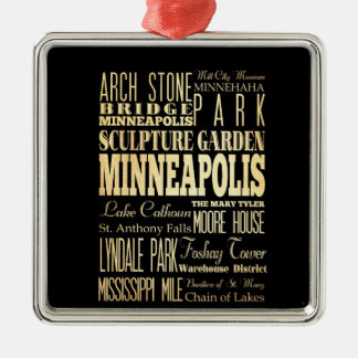 Minneapolis City of Minnesota State Typography Art Silver-Colored Square Decoration