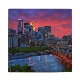 Minneapolis Eye Candy Maple Wood Coaster
