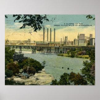 Minneapolis Flour Mills Vintage Poster