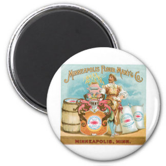 Minneapolis Flour Vintage Food Ad Art 6 Cm Round Magnet