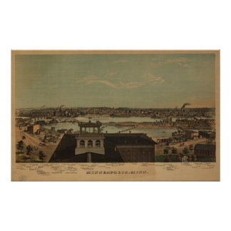 Minneapolis Minnesota 1874 Antique Panoramic Map Poster