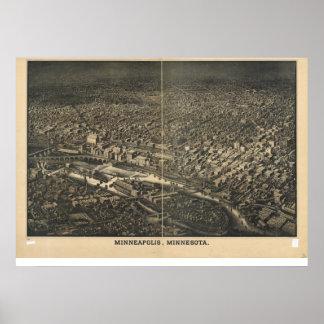 Minneapolis Minnesota 1885 Antique Panoramic Map Poster