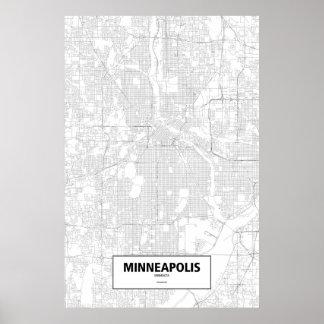 Minneapolis, Minnesota (black on white) Posters