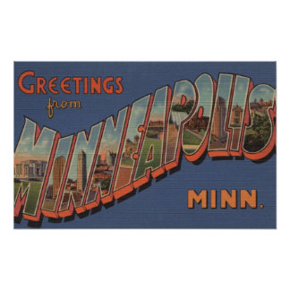 Minneapolis, Minnesota - Large Letter Scenes Poster