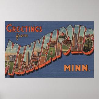Minneapolis Minnesota - Large Letter Scenes Poster
