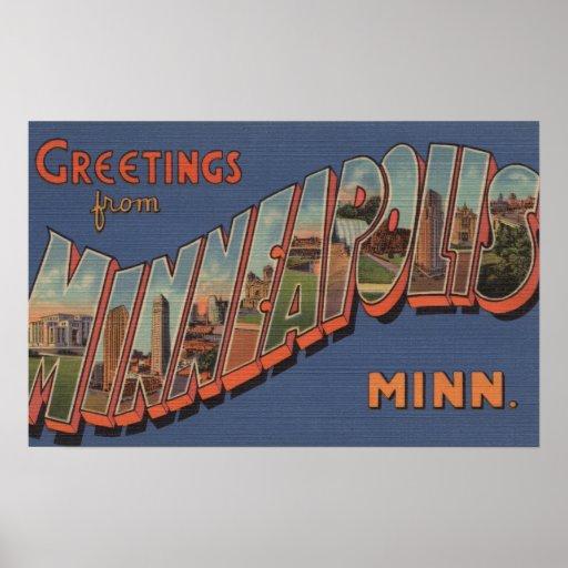 Minneapolis, Minnesota - Large Letter Scenes Poster
