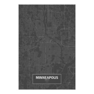 Minneapolis, Minnesota (white on black) Poster