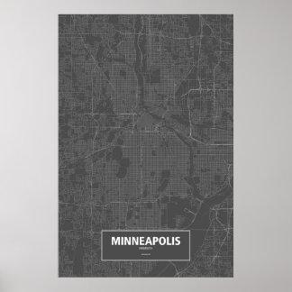 Minneapolis, Minnesota (white on black) Poster
