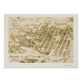 Minneapolis, MN Panoramic Map - 1891 Poster