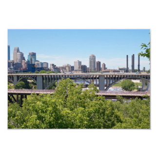 Minneapolis Skyline and Bridges 9 Cm X 13 Cm Invitation Card