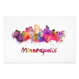 Minneapolis skyline in watercolor photo art