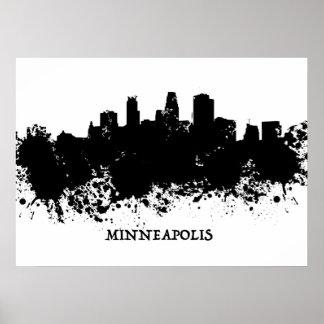 Minneapolis Skyline - Splat Paint Poster