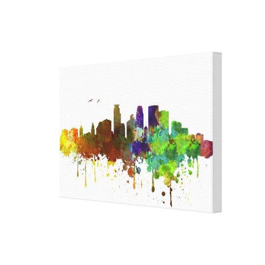 Minneapolis Skyline Watercolor print on canvas