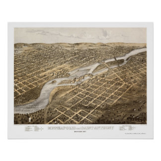 Minneapolis & St. Anthony, MN Panoramic Map - 1867 Poster