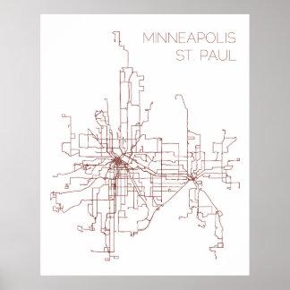 Minneapolis-St. Paul Transit Routes (Print) Poster