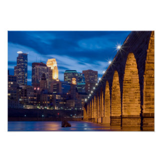 Minneapolis Stone Arch Bridge Skyline poster