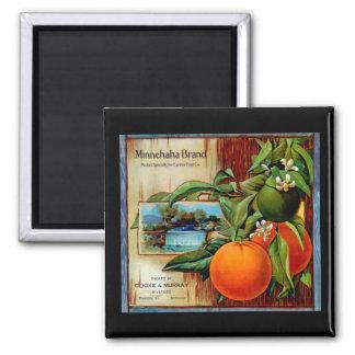 Minnehaha Oranges Produce Crate Label - Fridge Mag Square Magnet