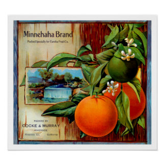 Minnehaha Oranges Produce Crate Label - Poster