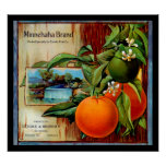 Minnehaha Oranges Produce Crate Label - Poster 2