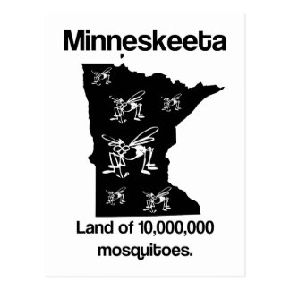 Minneskeeta Land of Mosquitoes Funny MN Postcard
