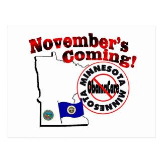Minnesota Anti ObamaCare – November's Coming! Postcard